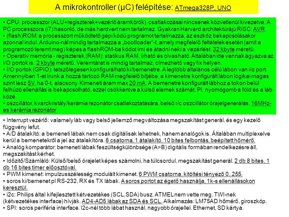 A mikrokontroller (μC) felépítése: ATmega328P, UNO