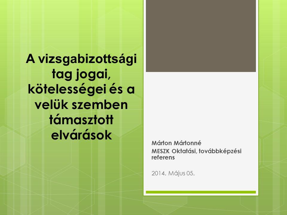Márton Mártonné MESZK Oktatási, továbbképzési referens 2014. Május 05.