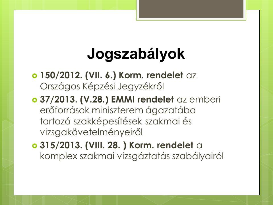 Jogszabályok 150/2012. (VII. 6.) Korm. rendelet az Országos Képzési Jegyzékről.