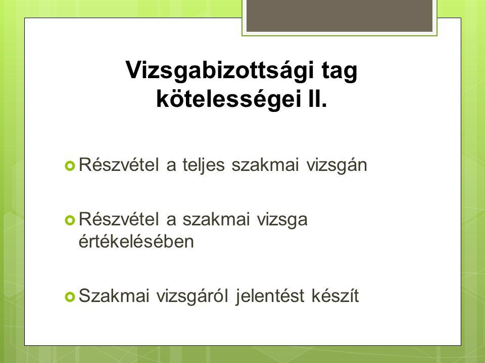 Vizsgabizottsági tag kötelességei II.