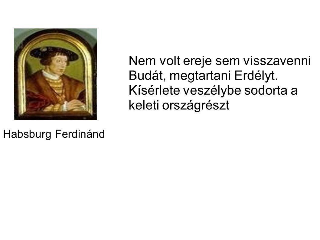 Gyalui egyezmény (Izabella és János Zsigmond lemondanak Magyarországról a Habsburgok javára)1542-ben Ferdinánd egy jelentősebb hadsereggel megpróbálta visszafoglalni Budát, de nem sikerült. Buda 145 évig török kézen maradt.