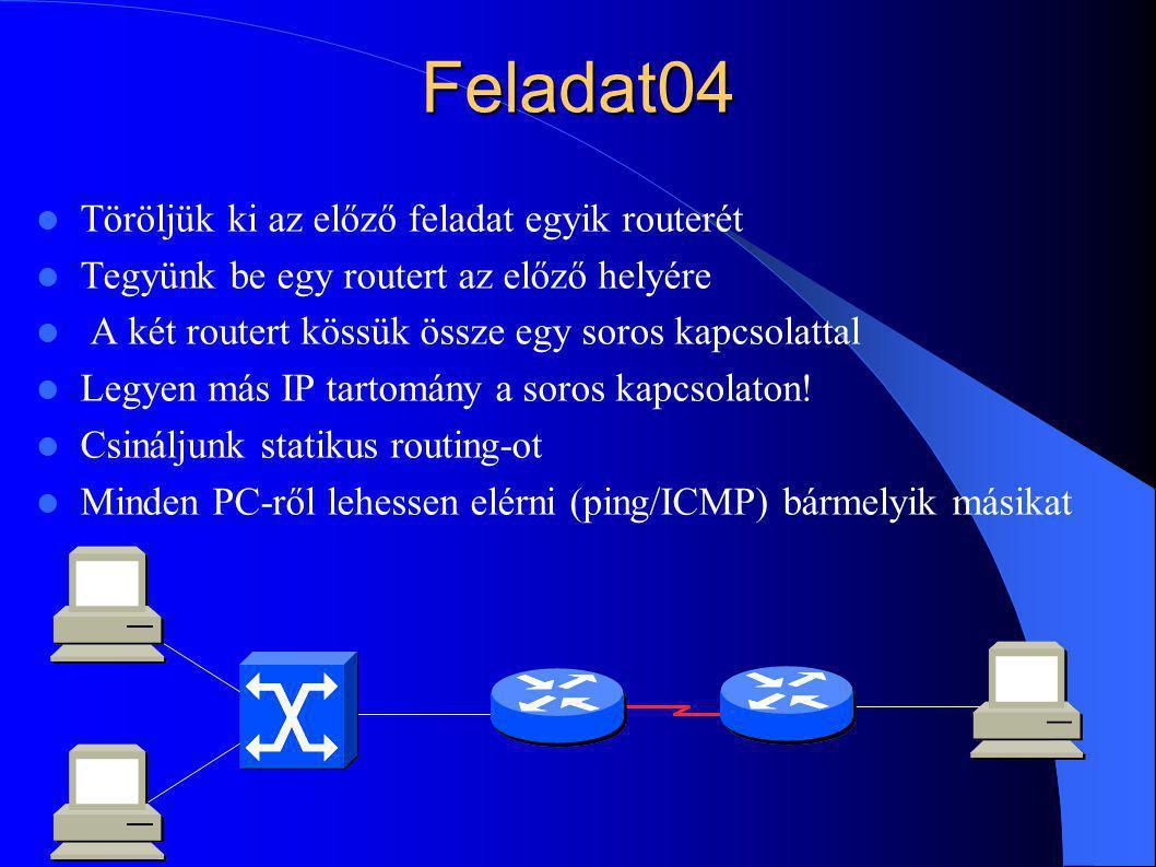 Feladat04 Töröljük ki az előző feladat egyik routerét