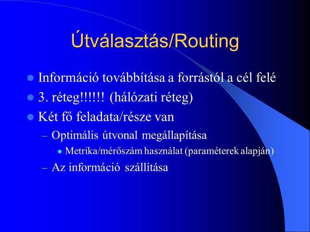 Útválasztás/Routing Információ továbbítása a forrástól a cél felé
