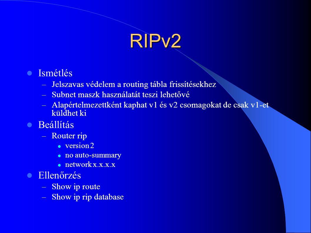 RIPv2 Ismétlés Beállítás Ellenőrzés