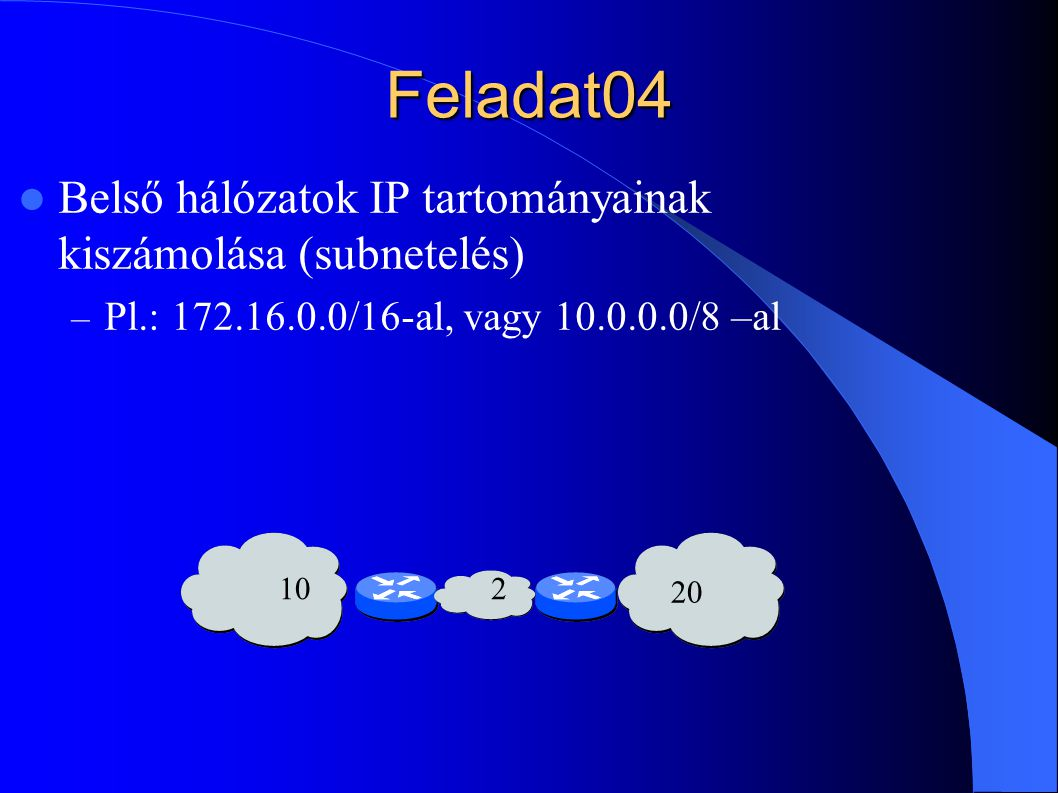 Feladat04 Belső hálózatok IP tartományainak kiszámolása (subnetelés)