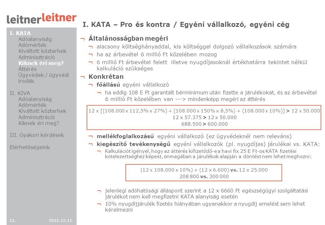 I. KATA – Pro és kontra / Egyéni vállalkozó, egyéni cég