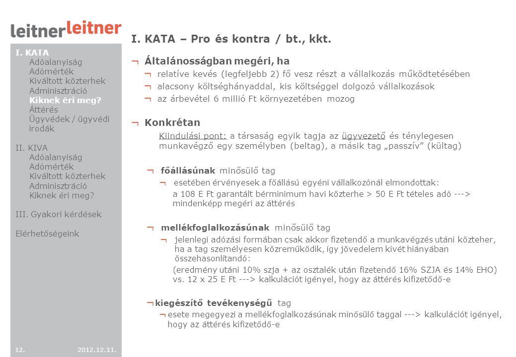 I. KATA – Pro és kontra / bt., kkt.