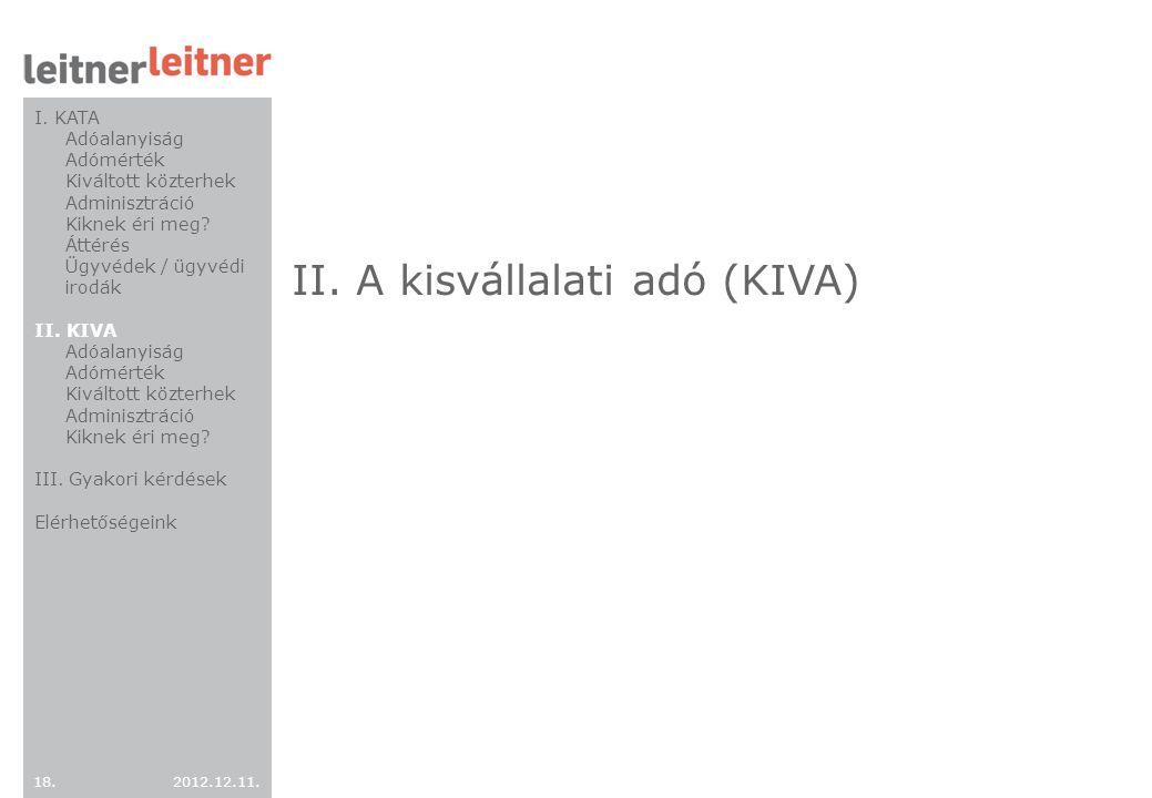 II. A kisvállalati adó (KIVA)