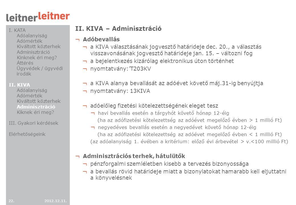 II. KIVA – Adminisztráció