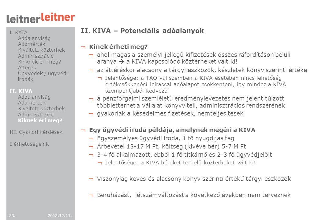 II. KIVA – Potenciális adóalanyok