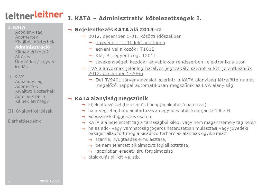 I. KATA – Adminisztratív kötelezettségek I.