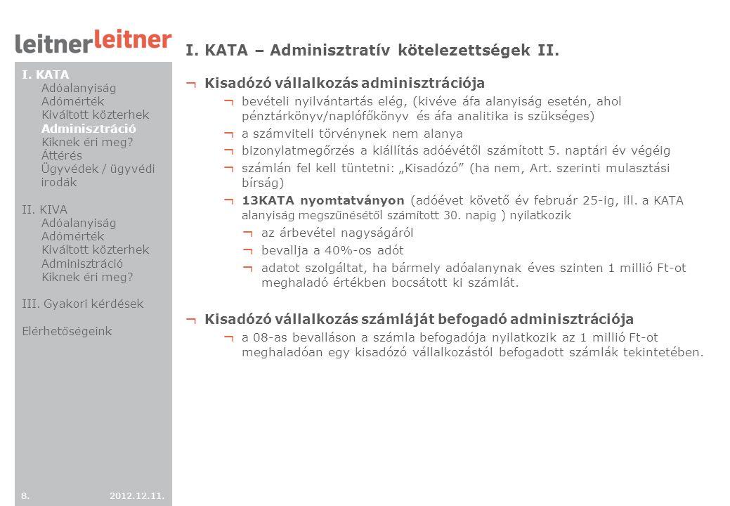 I. KATA – Adminisztratív kötelezettségek II.