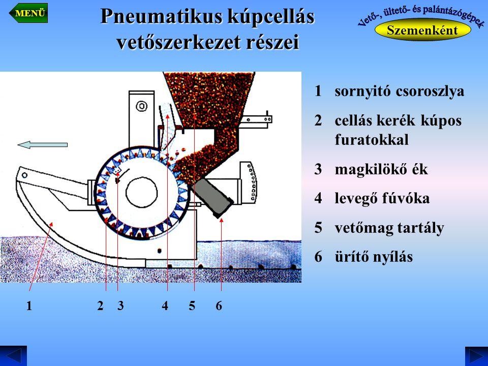 Pneumatikus kúpcellás vetőszerkezet részei