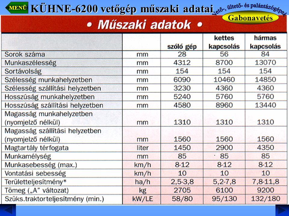 KÜHNE-6200 vetőgép műszaki adatai