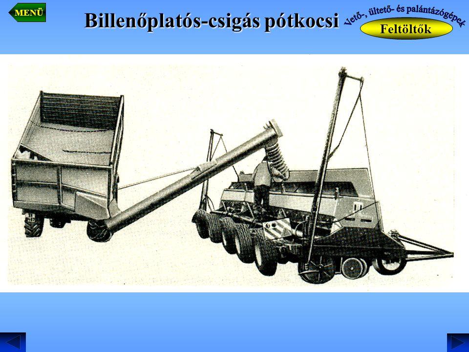 Billenőplatós-csigás pótkocsi