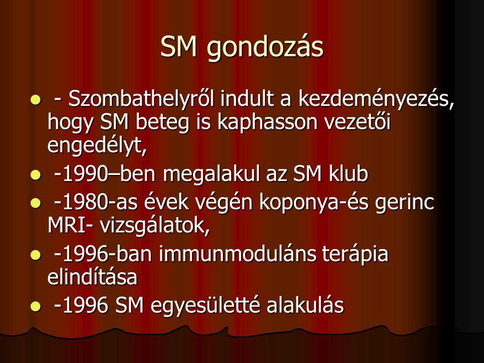 SM gondozás - Szombathelyről indult a kezdeményezés, hogy SM beteg is kaphasson vezetői engedélyt, -1990–ben megalakul az SM klub.