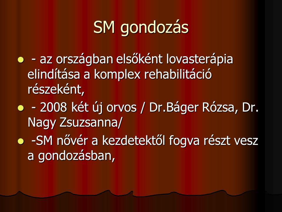 SM gondozás - az országban elsőként lovasterápia elindítása a komplex rehabilitáció részeként,