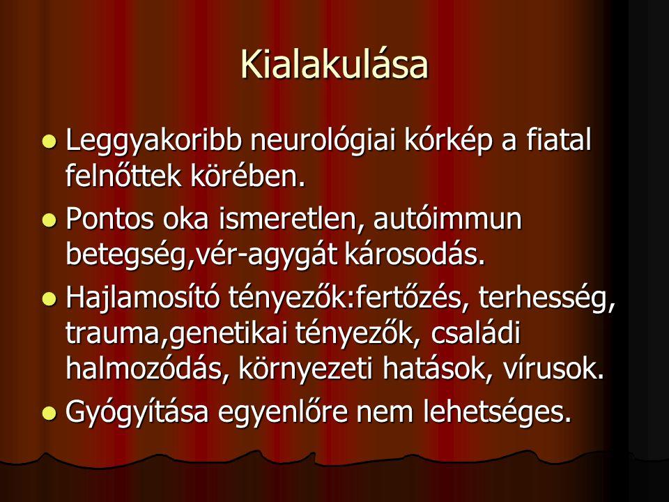 Kialakulása Leggyakoribb neurológiai kórkép a fiatal felnőttek körében. Pontos oka ismeretlen, autóimmun betegség,vér-agygát károsodás.
