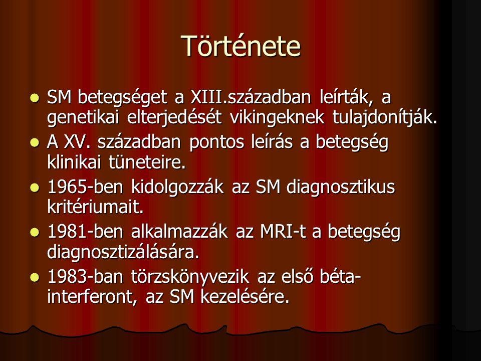 Története SM betegséget a XIII.században leírták, a genetikai elterjedését vikingeknek tulajdonítják.