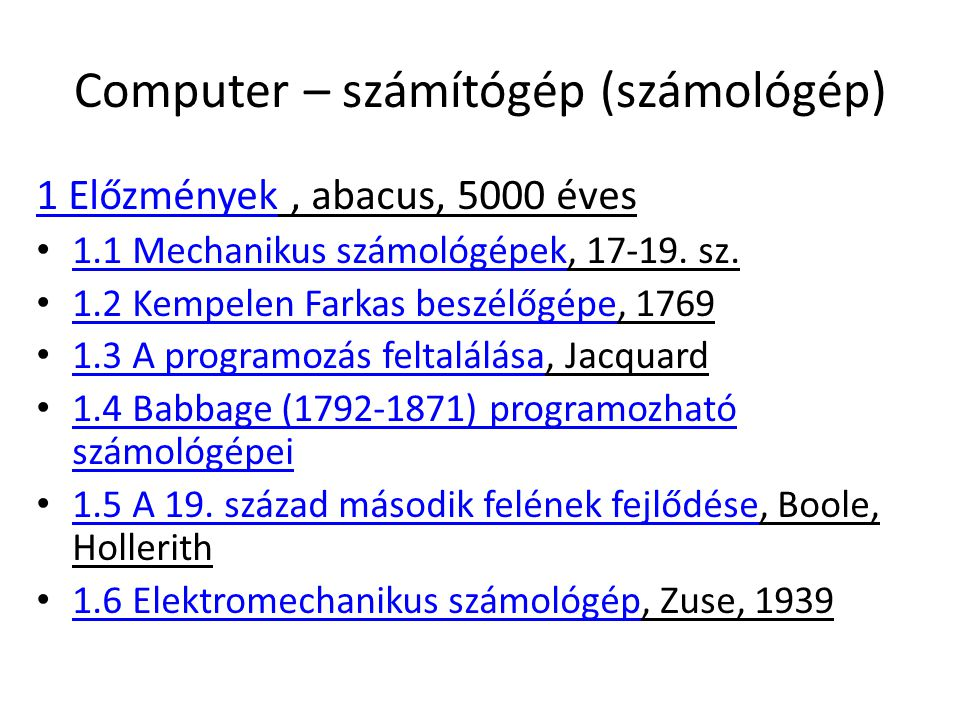 Computer – számítógép (számológép)