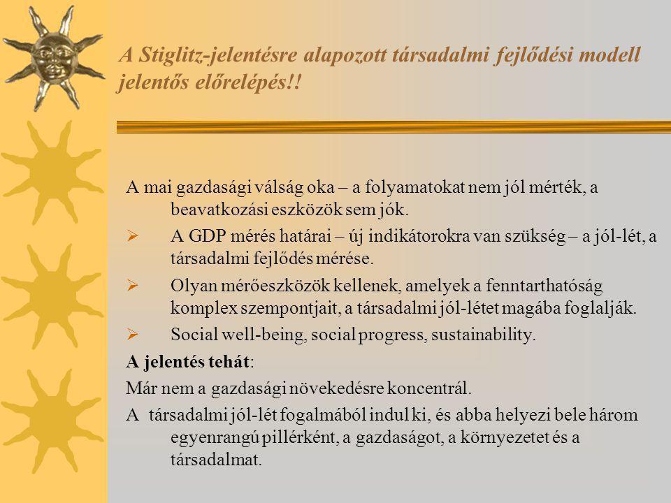 A Stiglitz-jelentésre alapozott társadalmi fejlődési modell jelentős előrelépés!!