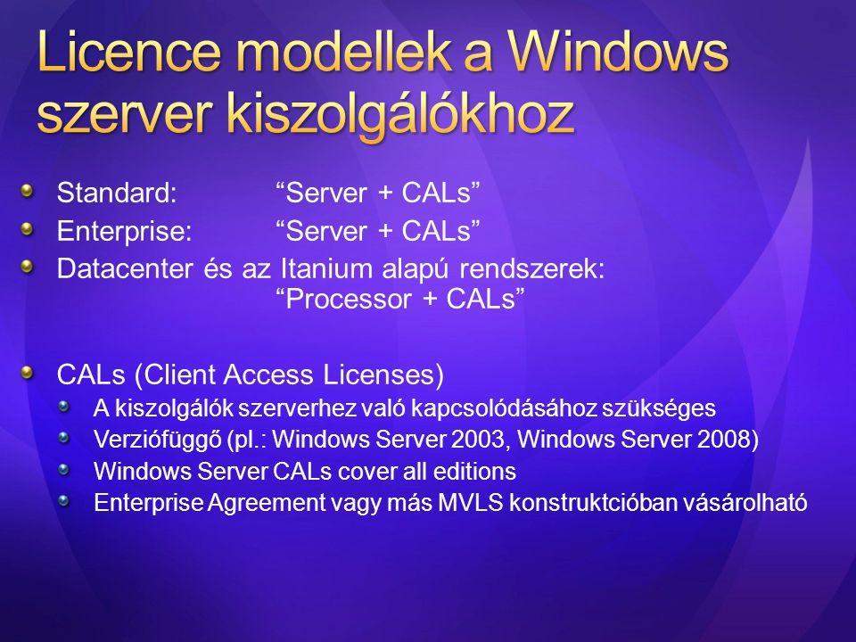 Licence modellek a Windows szerver kiszolgálókhoz