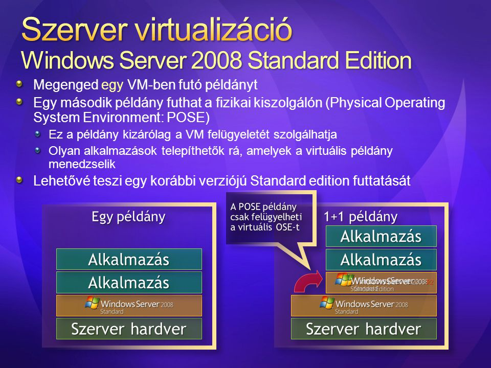 Szerver virtualizáció Windows Server 2008 Standard Edition