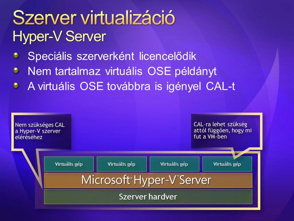 Szerver virtualizáció Hyper-V Server