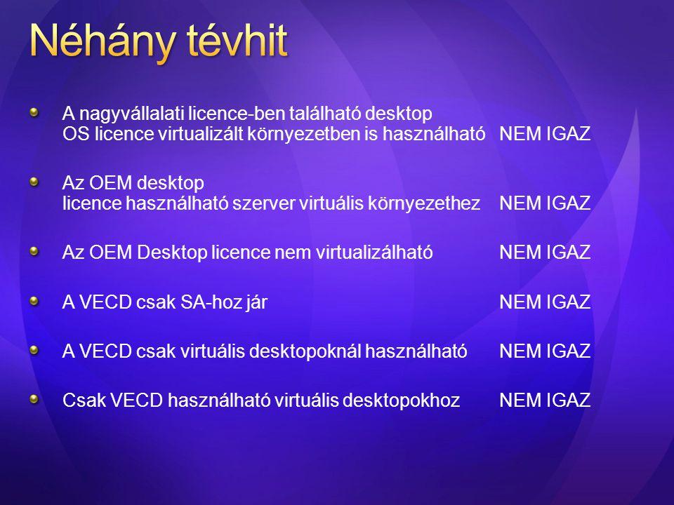 Néhány tévhit A nagyvállalati licence-ben található desktop OS licence virtualizált környezetben is használható NEM IGAZ.