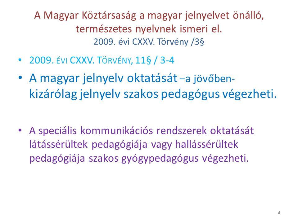 A Magyar Köztársaság a magyar jelnyelvet önálló, természetes nyelvnek ismeri el. 2009. évi CXXV. Törvény /3§