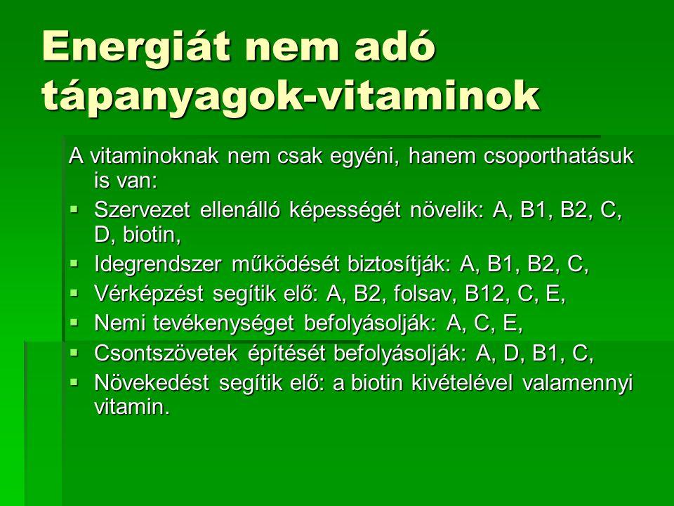 Energiát nem adó tápanyagok-vitaminok