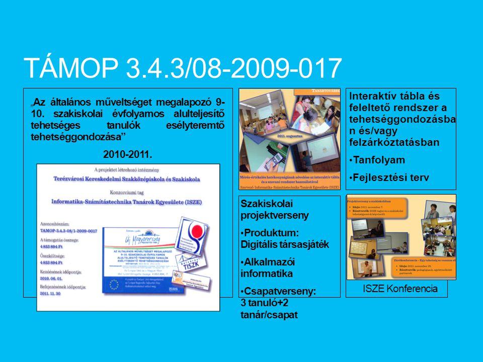 TÁMOP 3.4.3/08-2009-017 Interaktív tábla és feleltető rendszer a tehetséggondozásban és/vagy felzárkóztatásban.