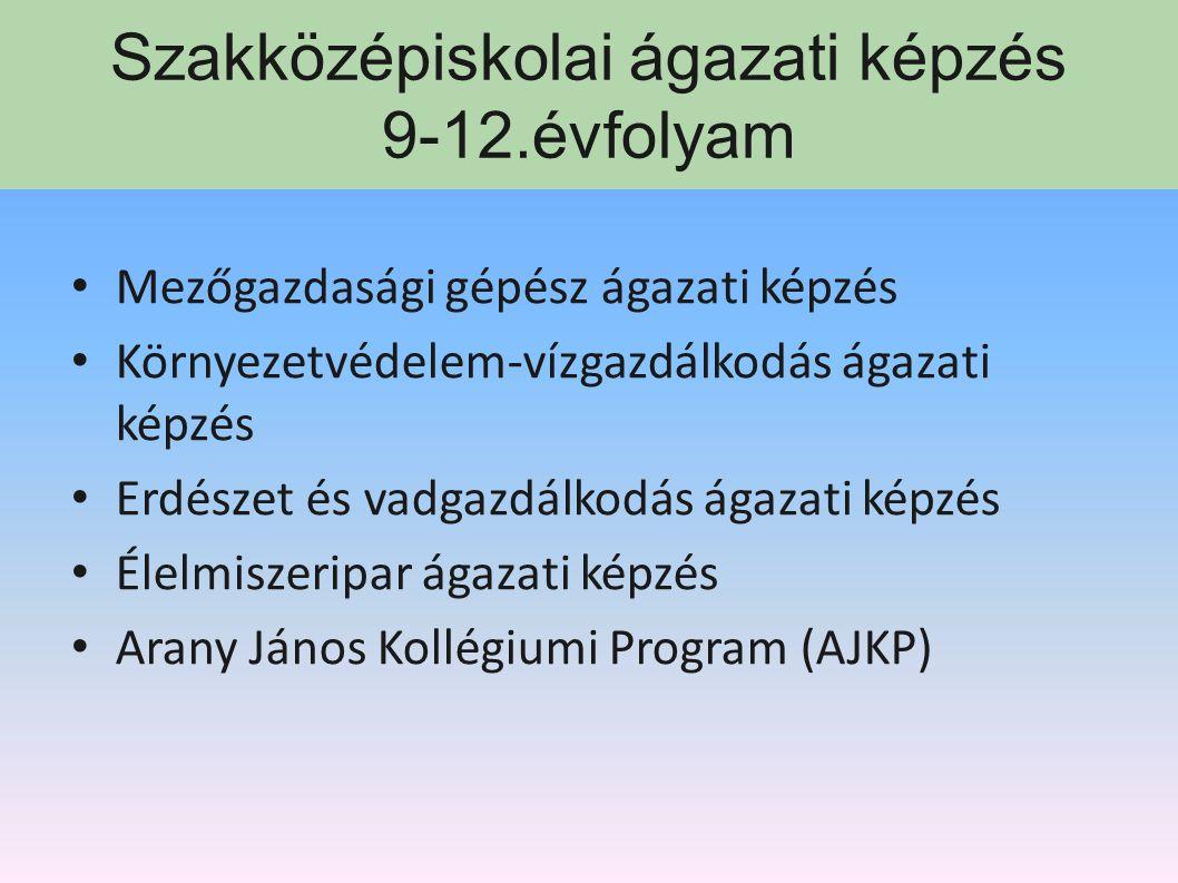 Szakközépiskolai ágazati képzés 9-12.évfolyam