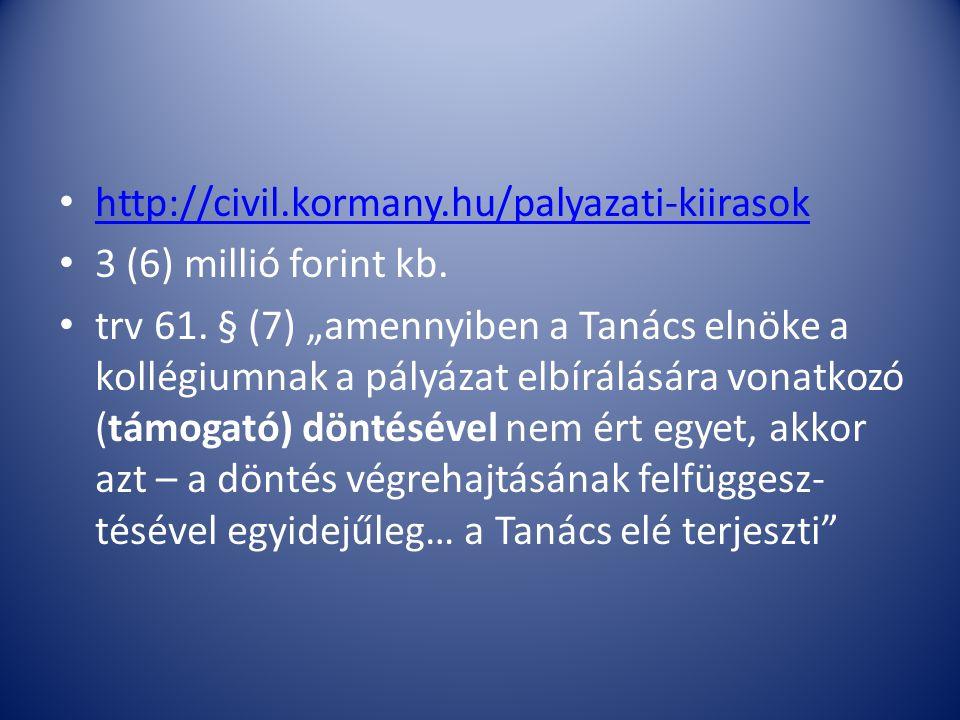 http://civil.kormany.hu/palyazati-kiirasok 3 (6) millió forint kb.