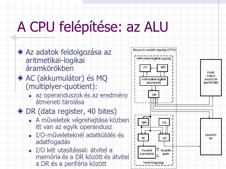 A CPU felépítése: az ALU