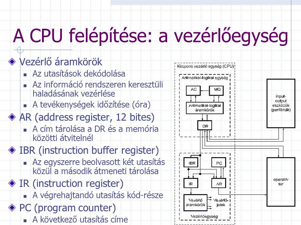A CPU felépítése: a vezérlőegység