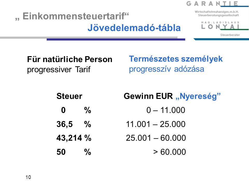 """ Einkommensteuertarif Jövedelemadó-tábla"