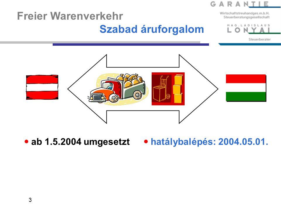 Freier Warenverkehr Szabad áruforgalom ab 1.5.2004 umgesetzt