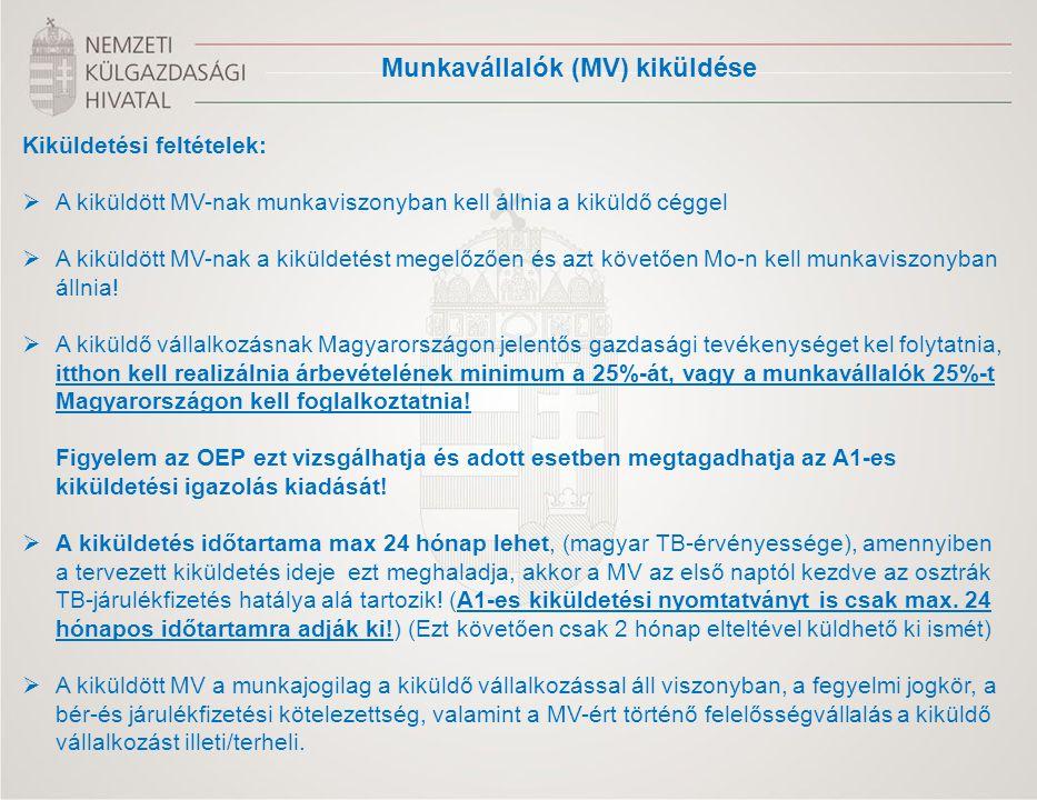 Munkavállalók (MV) kiküldése