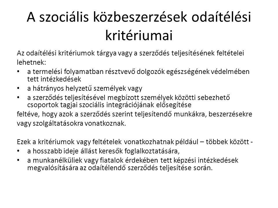 A szociális közbeszerzések odaítélési kritériumai