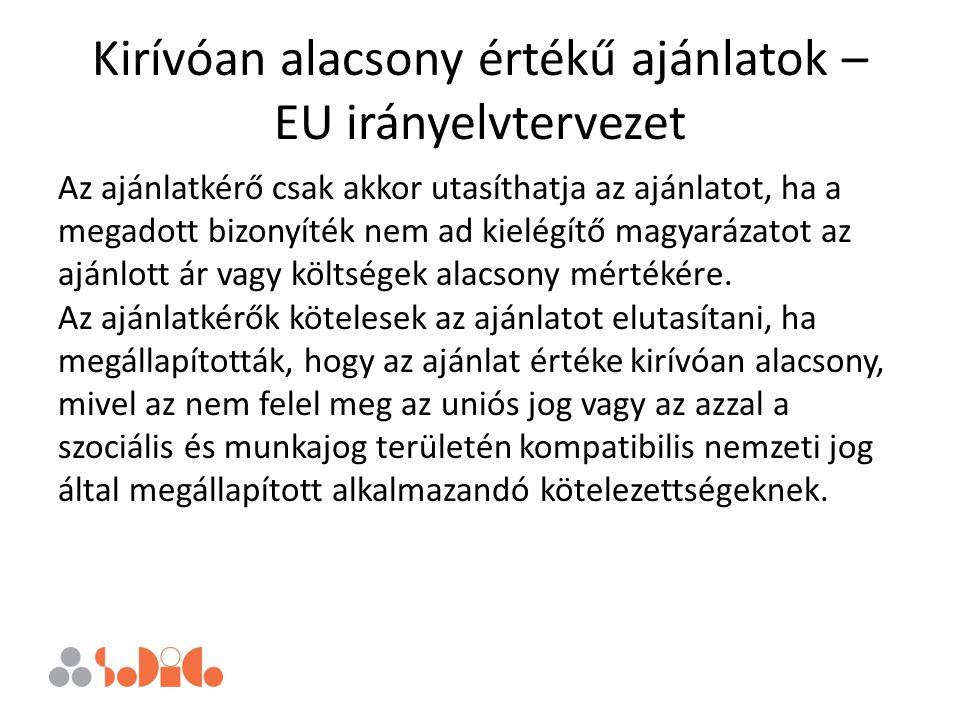 Kirívóan alacsony értékű ajánlatok – EU irányelvtervezet