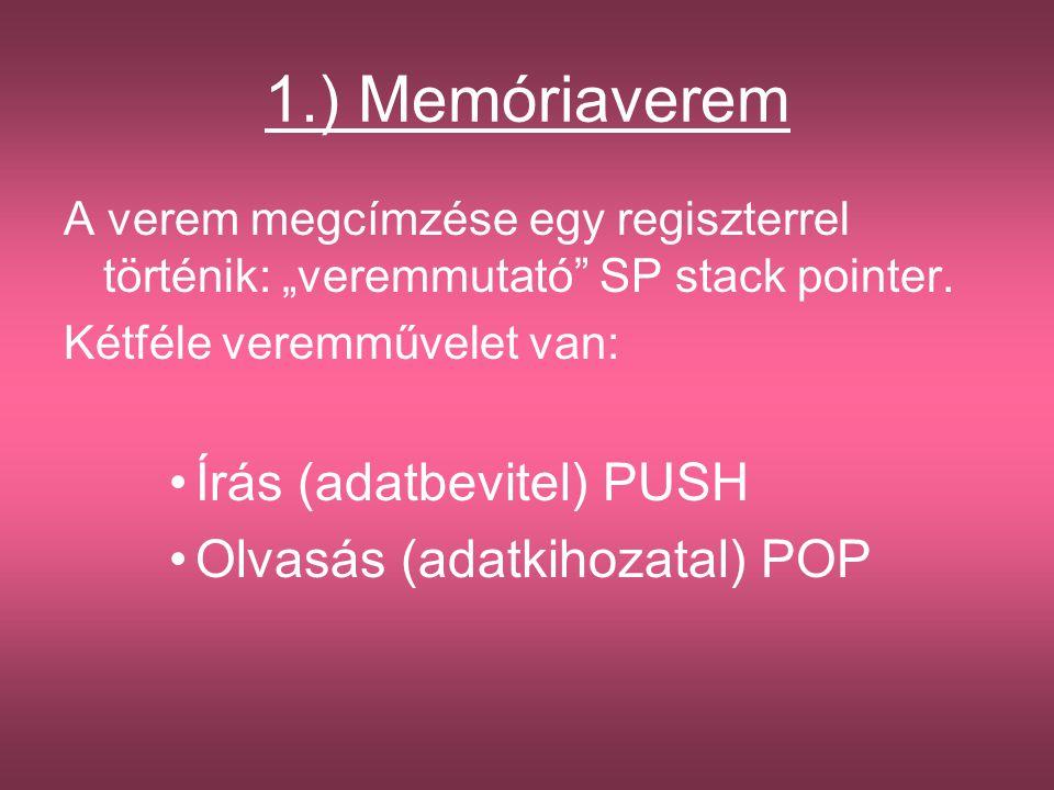 1.) Memóriaverem Írás (adatbevitel) PUSH Olvasás (adatkihozatal) POP