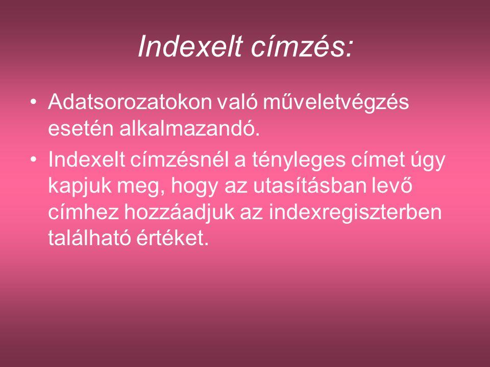 Indexelt címzés: Adatsorozatokon való műveletvégzés esetén alkalmazandó.