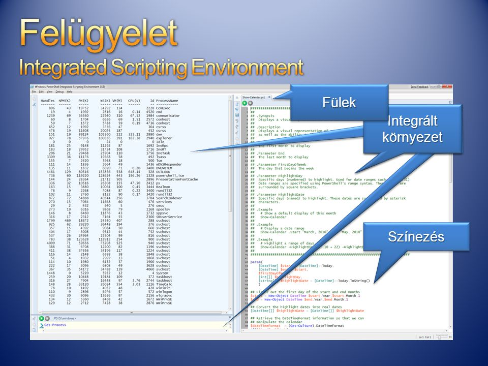 Felügyelet Integrated Scripting Environment