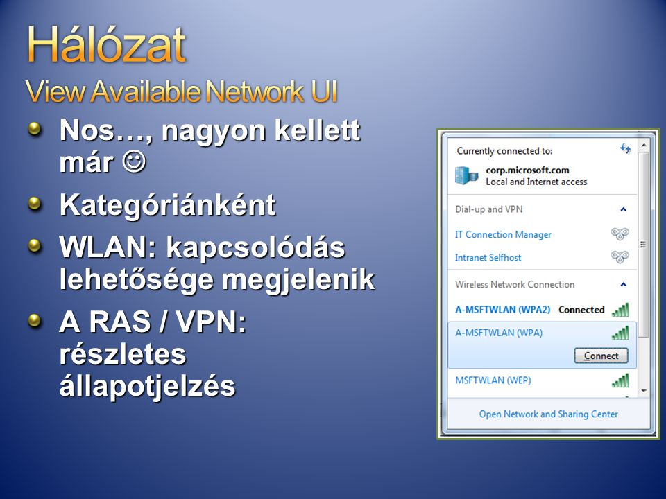 Hálózat View Available Network UI