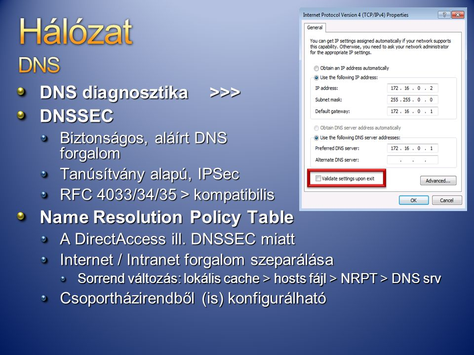 Hálózat DNS DNS diagnosztika >>> DNSSEC