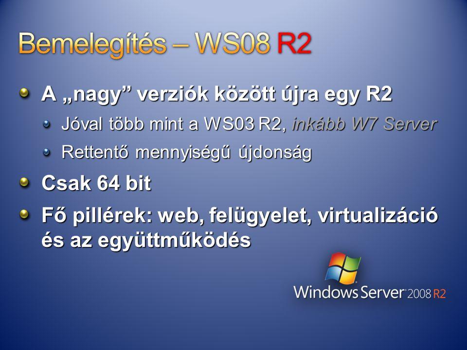 """Bemelegítés – WS08 R2 A """"nagy verziók között újra egy R2 Csak 64 bit"""
