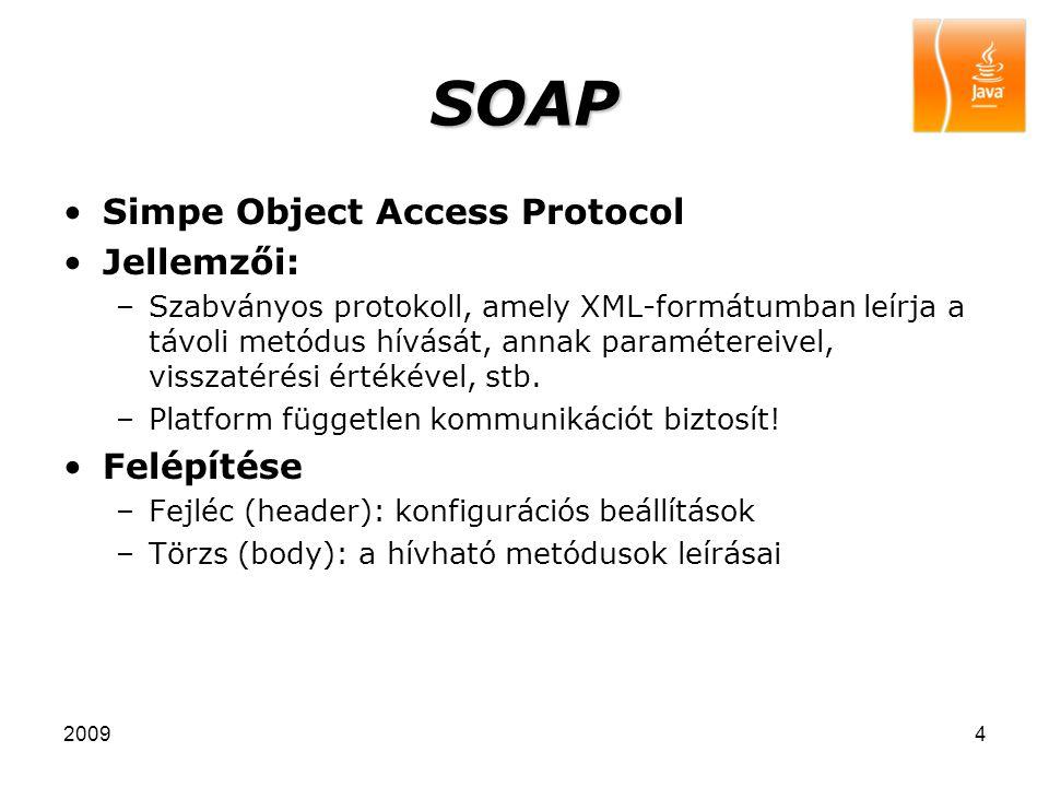 SOAP Simpe Object Access Protocol Jellemzői: Felépítése
