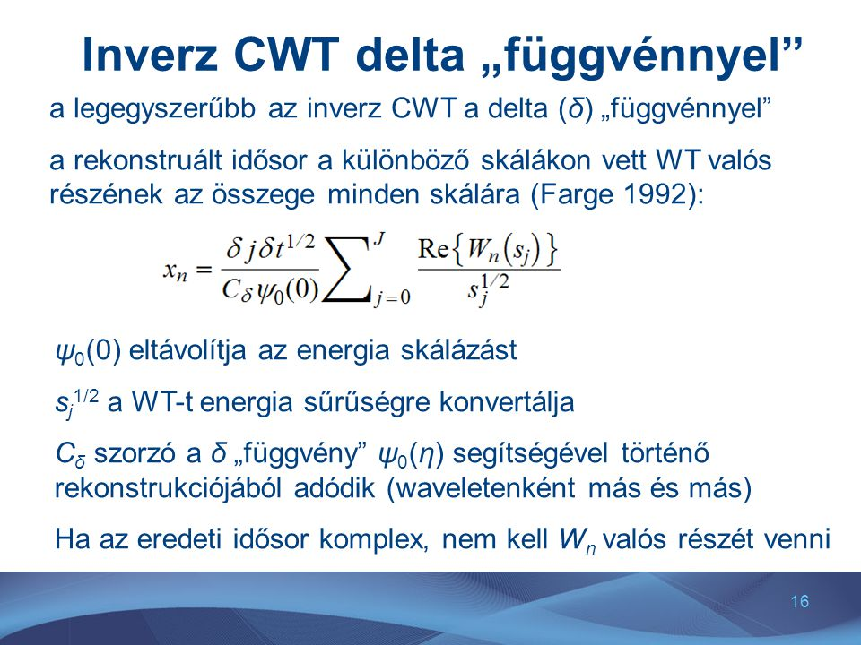 """Inverz CWT delta """"függvénnyel"""