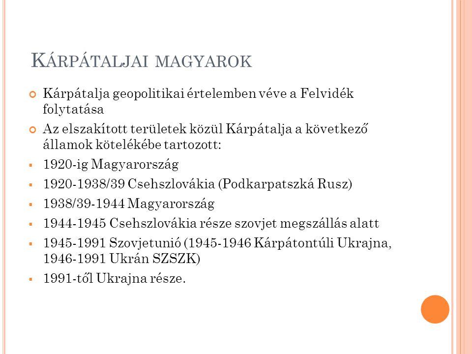 Kárpátaljai magyarok Kárpátalja geopolitikai értelemben véve a Felvidék folytatása.